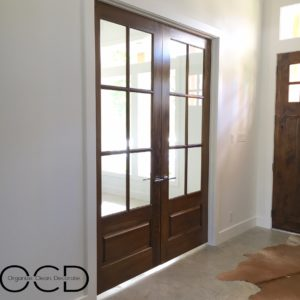 wood french doors music room