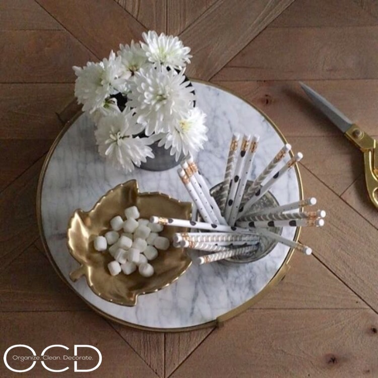 Gold marble target tray styled fall