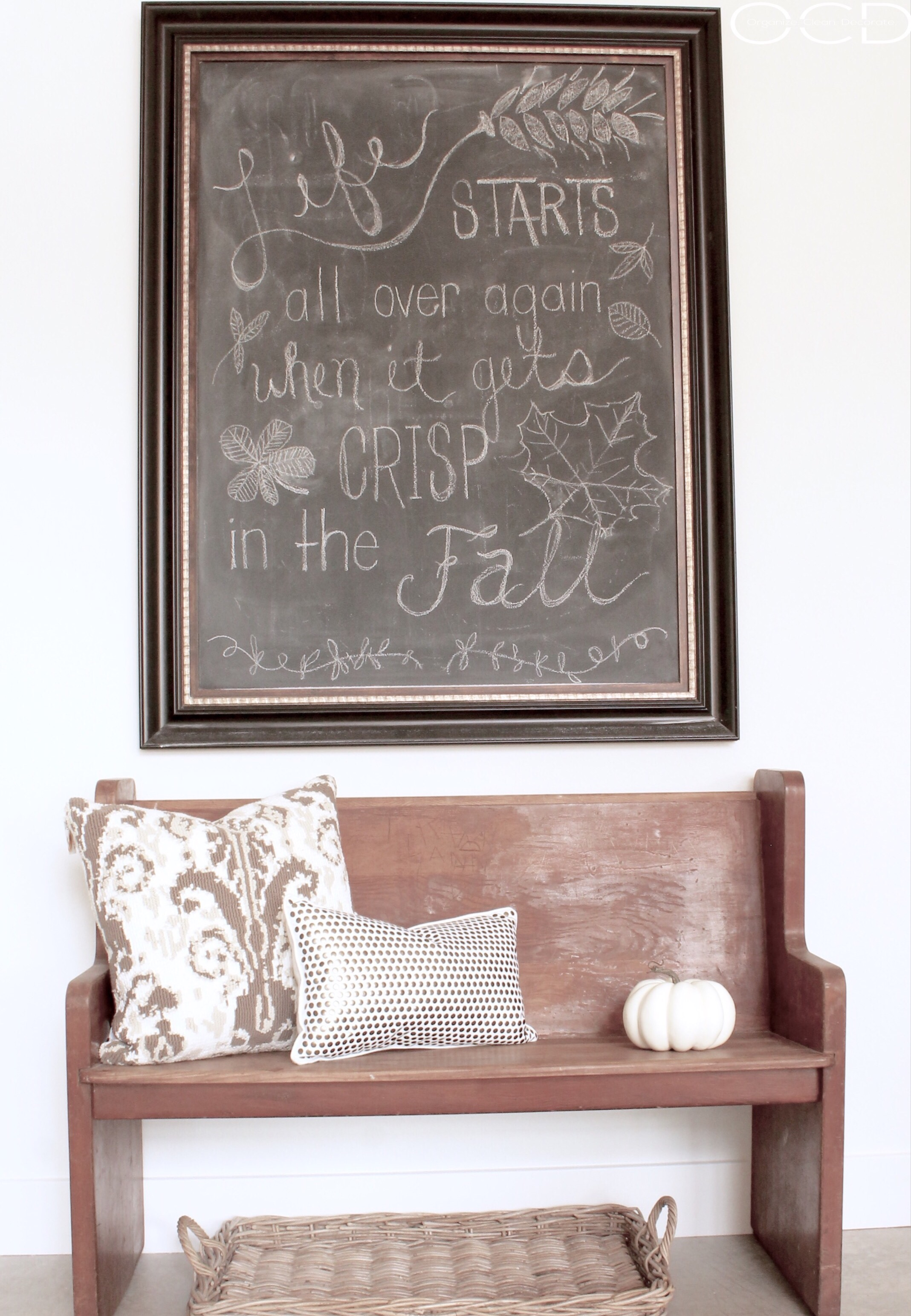 Fall pew bench decor