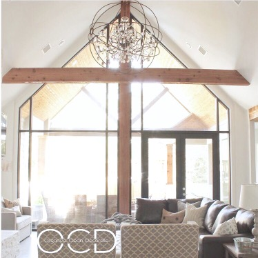 cathedral ceiling living room rustic glam