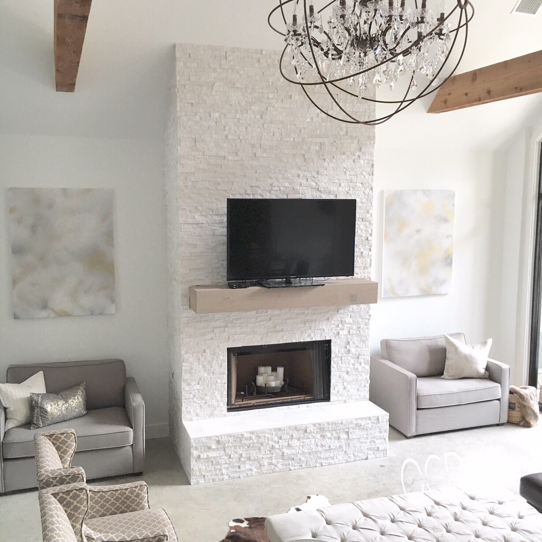 Beams white living room fireplace