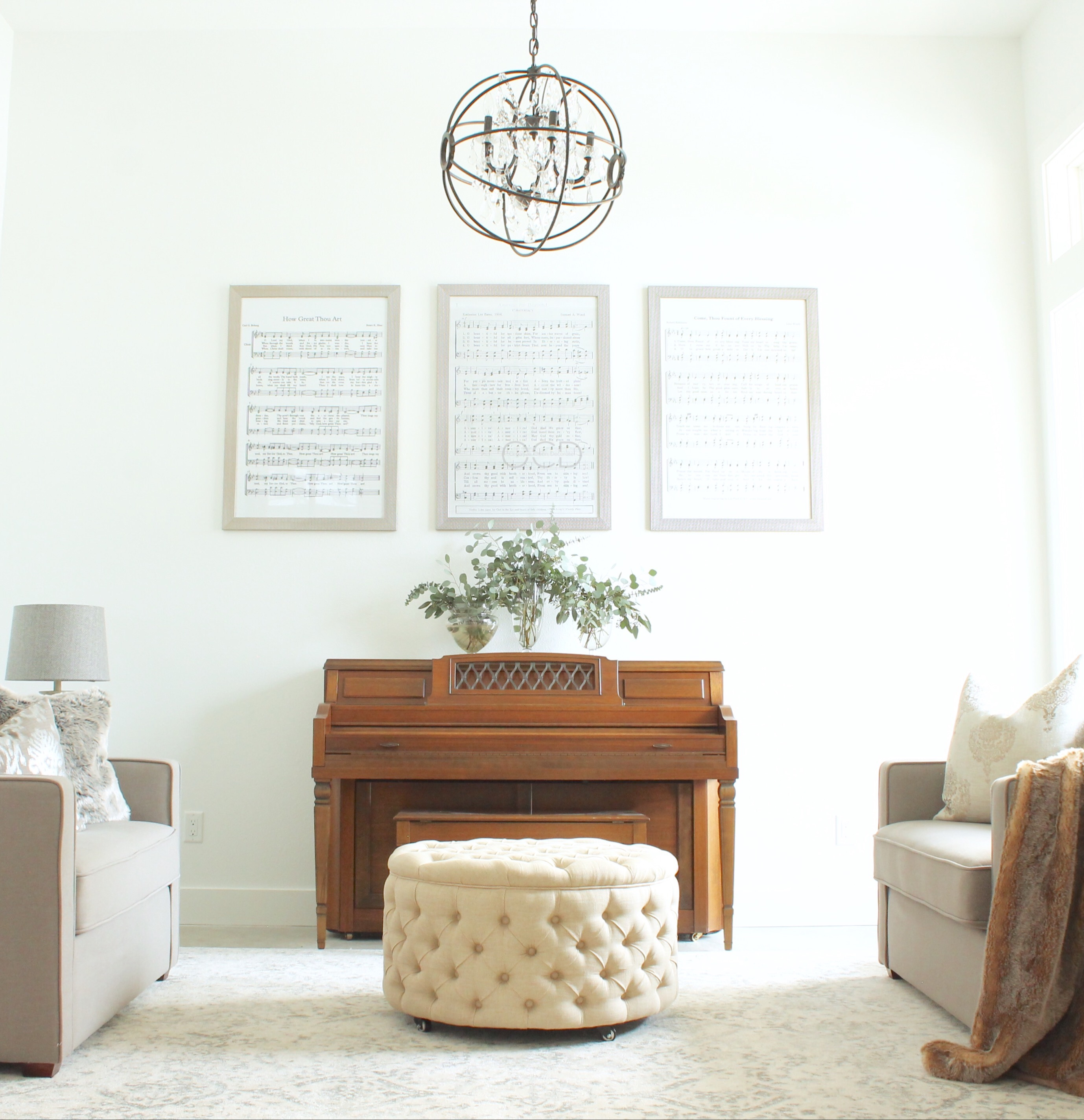 Music room piano decor