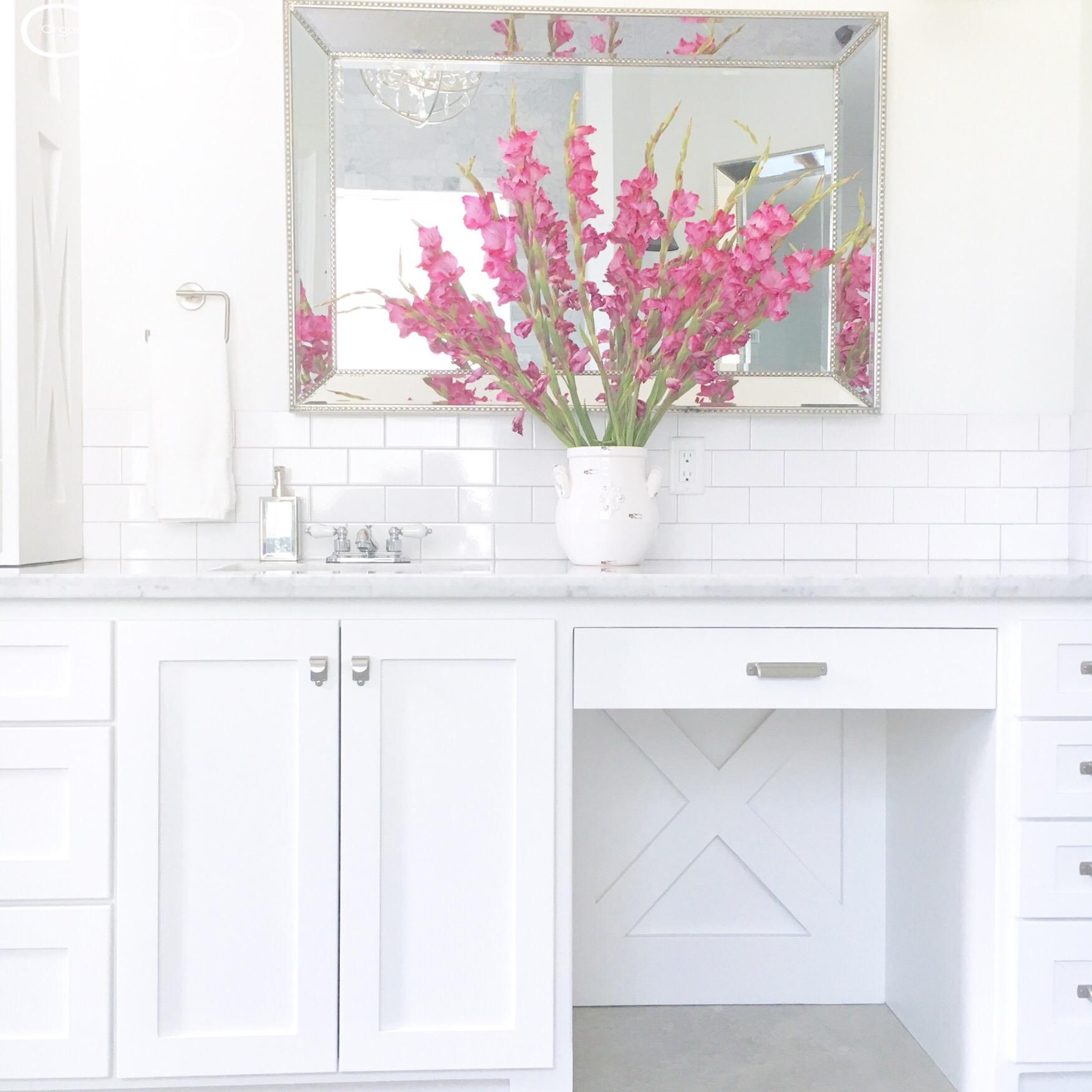 White bathroom custom cabinets luxury details