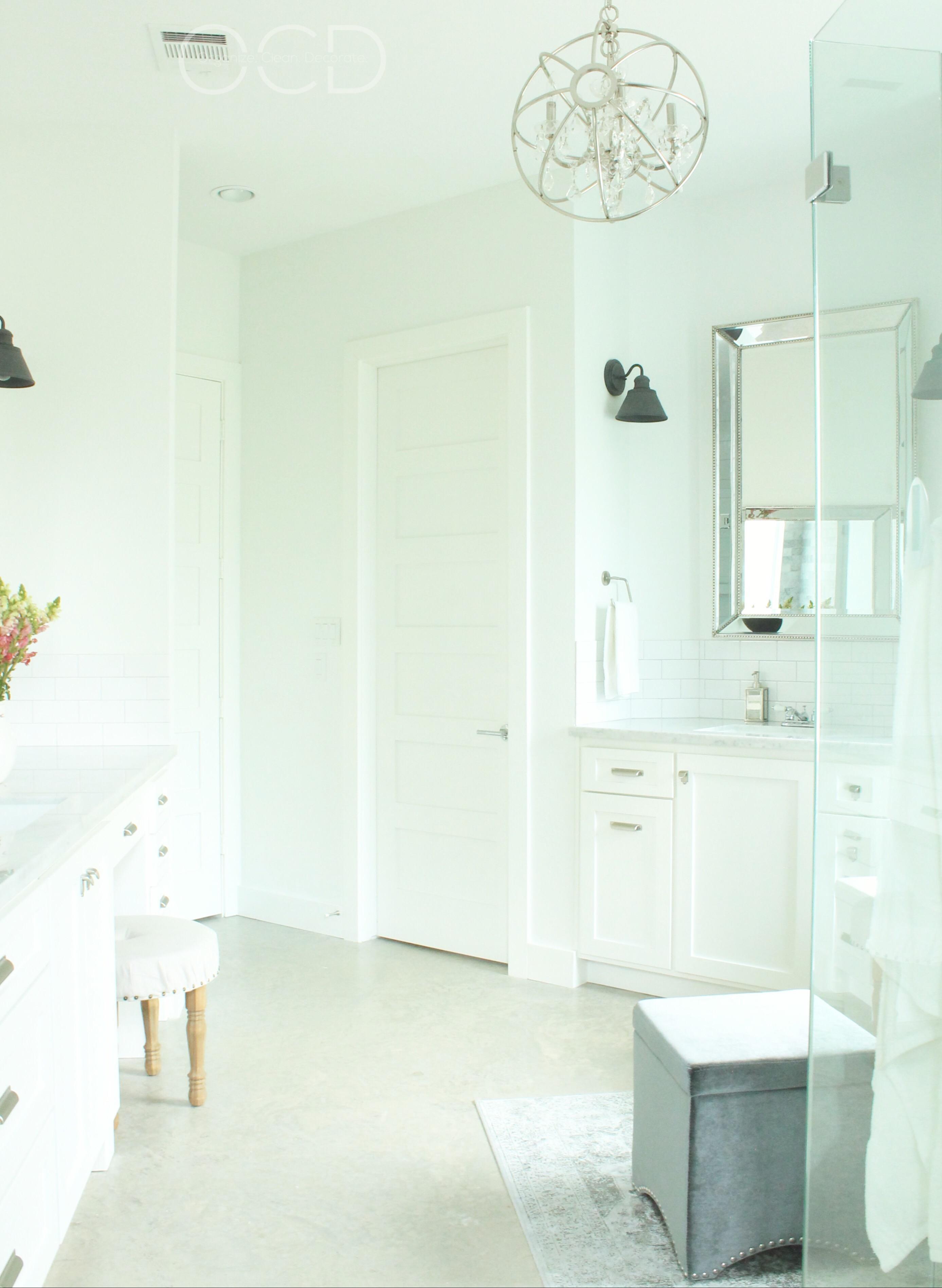 Master bathroom marble white vanity