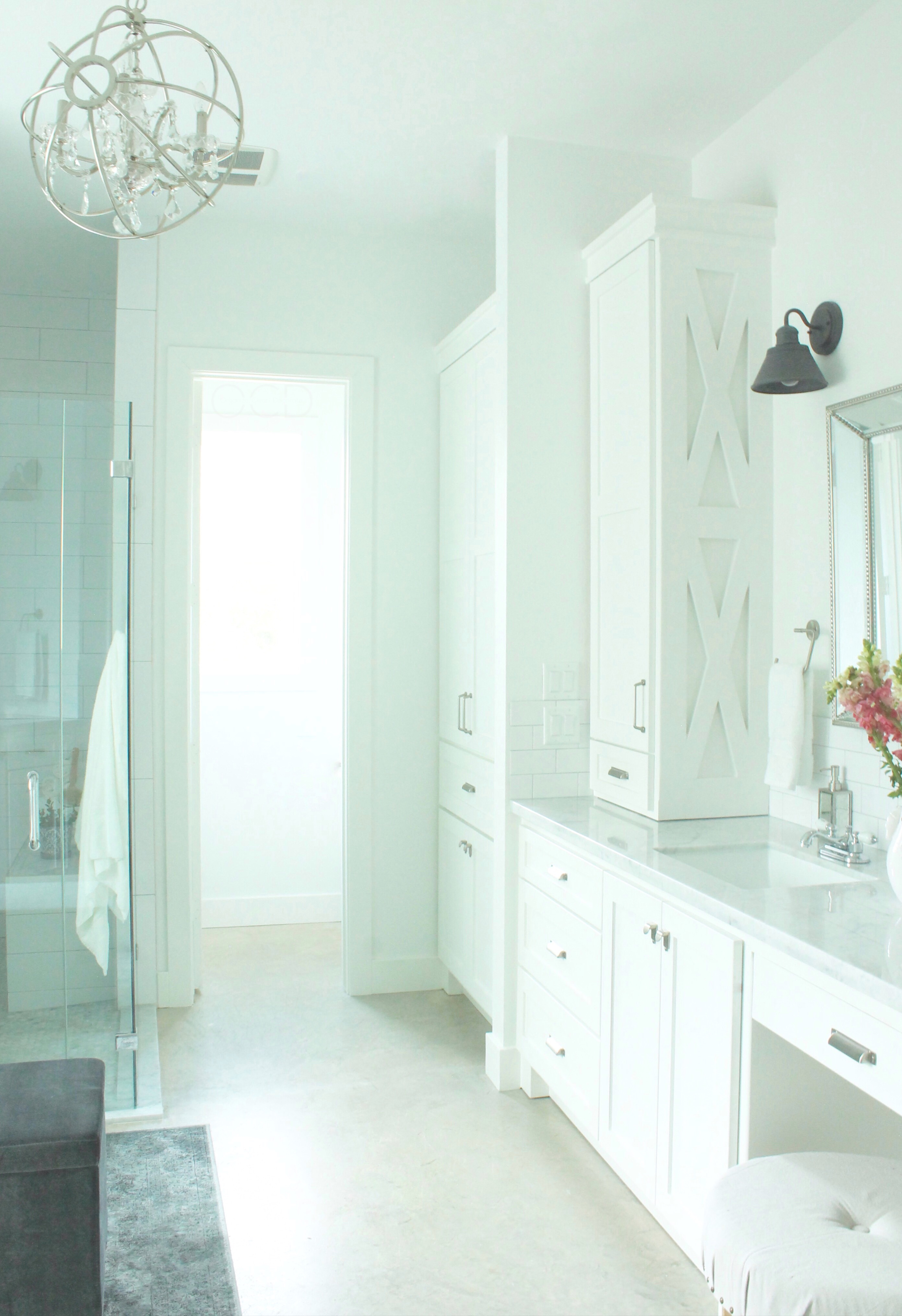 Marble white master bathroom vanity cabinets
